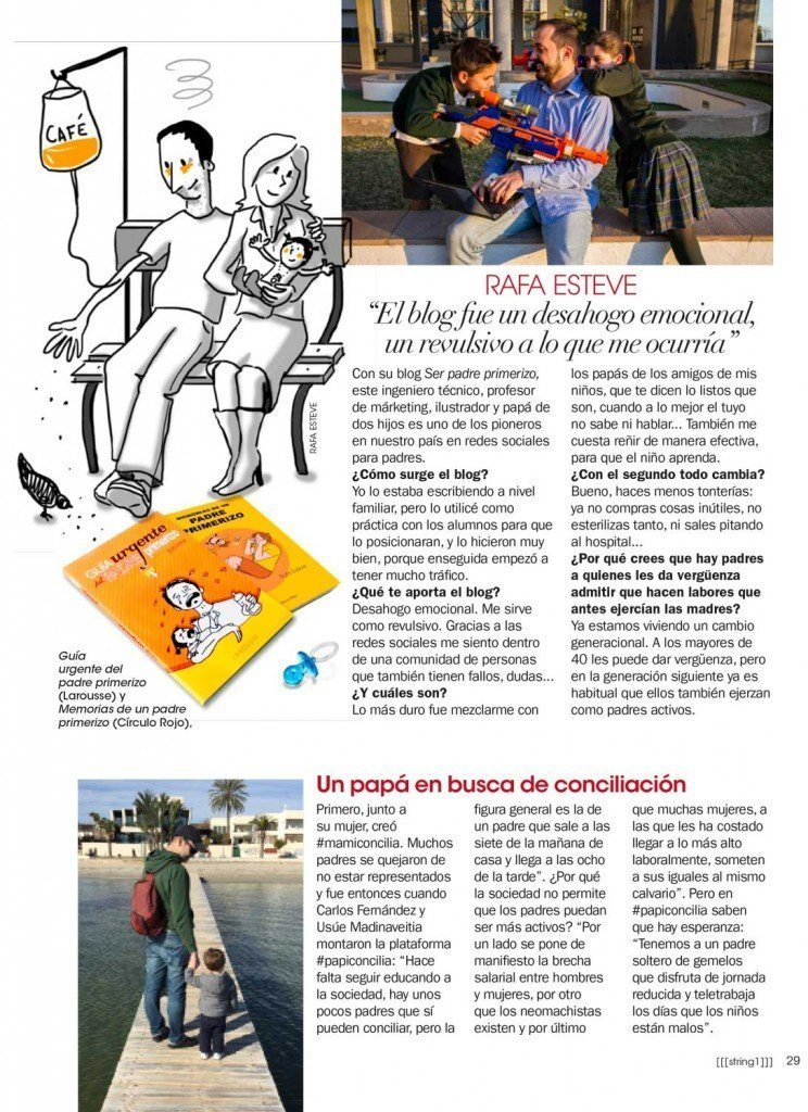 Rafa Esteve, Padre Primerizo en la revista de Ana Rosa Quintana